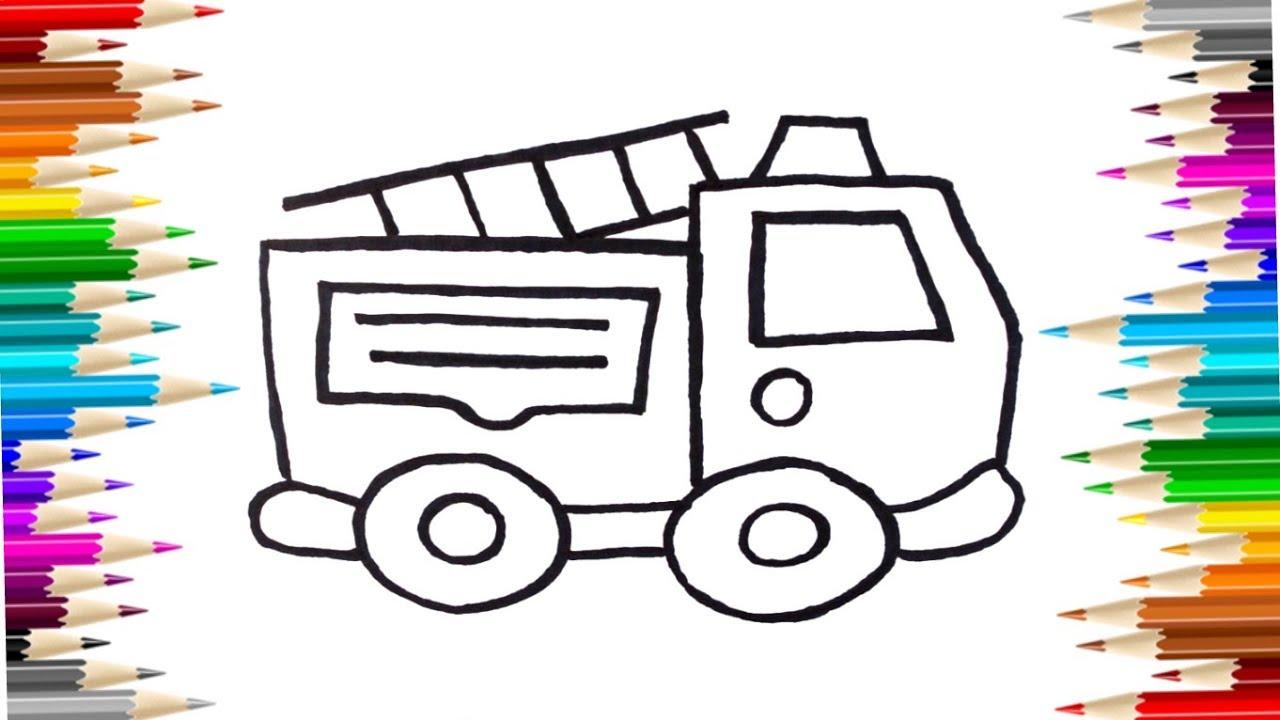 Как нарисовать пожарную машину / Пожарная машина раскраска ...