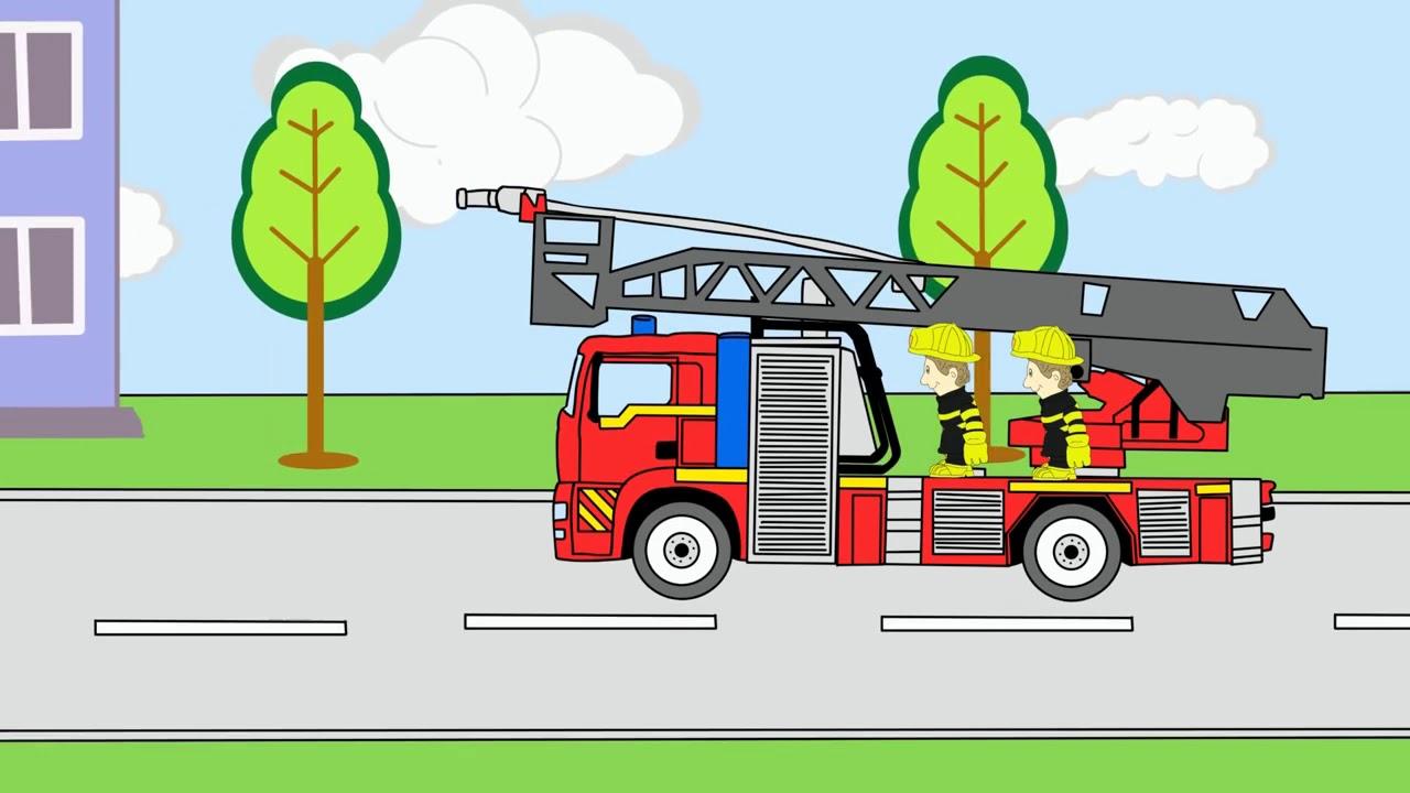 Пожарная машина тушит пожар мультик раскраска - Мультики ...
