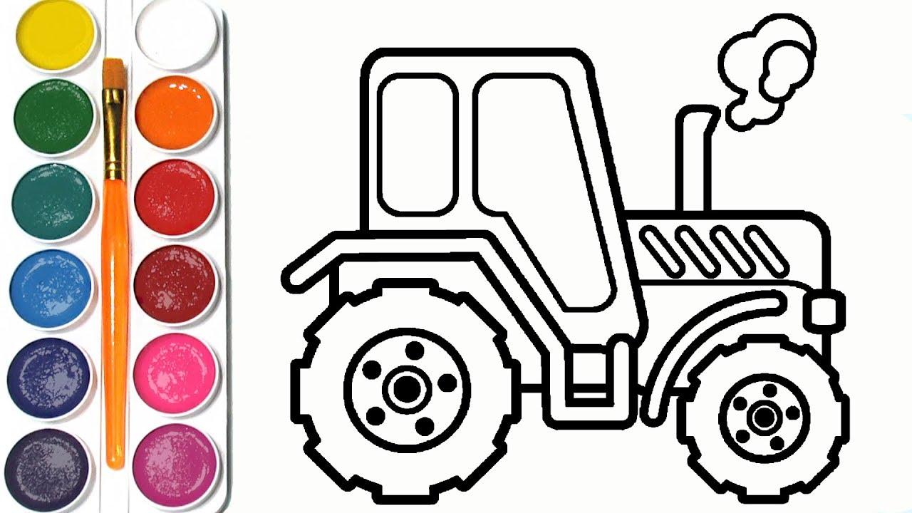 Как нарисовать ТРАКТОР / мультик раскраска СИНИЙ ТРАКТОР ...