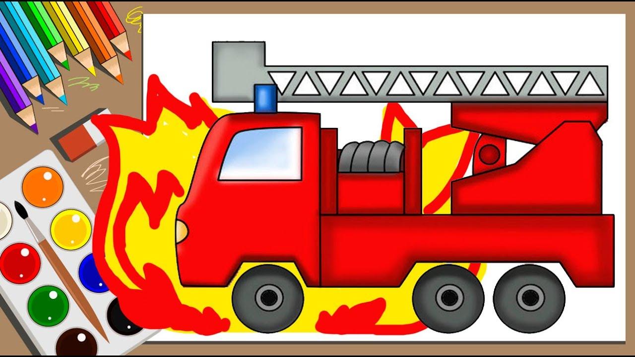 Раскраска пожарная машина  Мультик раскраска   Fire Truck ...
