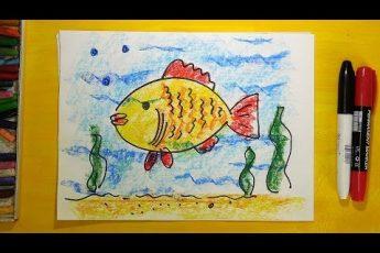 Как нарисовать Золотую Рыбку, Урок рисования для детей от 3 лет