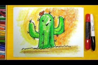 Как нарисовать Кактус, Урок рисования для детей от 3 лет