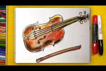 Как нарисовать СКРИПКУ, Урок рисования для детей от 3 лет | Раскраска для детей