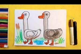 Как нарисовать ДВА ГУСЯ / Урок рисования для детей от 3 лет