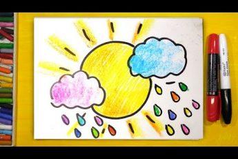 СОЛНЦЕ и ЦВЕТНЫЕ ОБЛАКА / Уроки рисования для детей