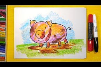 Как нарисовать Свинку или Поросенка, Урок рисования для детей от 3 лет