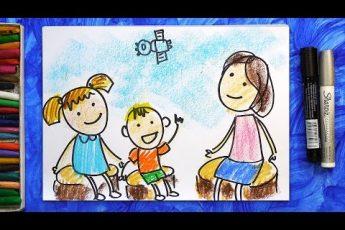 Рисуем Семью Космонавта, Урок рисования для детей