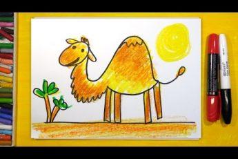 Как нарисовать Верблюда с одним горбом, Урок рисования для детей от 3 лет