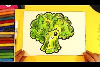 Как нарисовать БРОККОЛИ капусну : уроки рисования для детей
