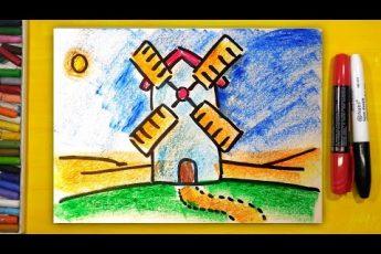 Как нарисовать МЕЛЬНИЦУ, Урок рисования для детей от 3 лет | Раскраска для детей