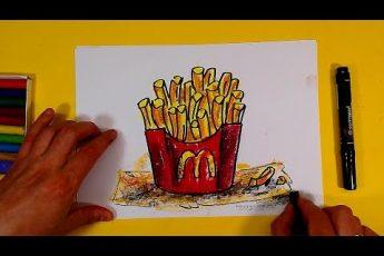 Как нарисовать КАРТОШКУ ФРИ / Развивающее видео урок рисования для детей