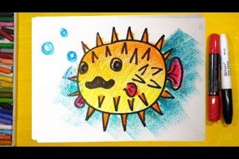Как нарисовать РЫБУ ЕЖА, Урок рисования для детей, Развивающее видео