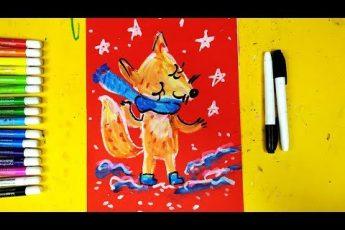 Лисичка ждет Весну - Урок рисования на 1 апреля