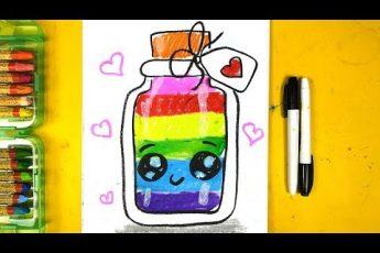 Бутылка с РАДУГОЙ - урок рисования