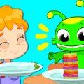 Groovy марсианин учит детей питаться полезными овощами