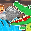 Динозаврик прыгал на батуте, но ему помешали! Злой крокодил лопнул батут и захотел съесть динозавра. Не тут то было, ребята спешат на помощь!
