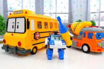 Машинки ПОМОЩНИКИ и Поли — Ремонт машинки Бетономешалка — Развивающие мультики @Игрушки Gulliver