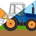 Раскраска - Кто ждал трактор на ферме - Мультик от Крошки Антошки