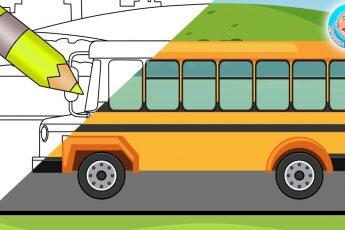 Мультик - Раскраска - Школьный Автобус