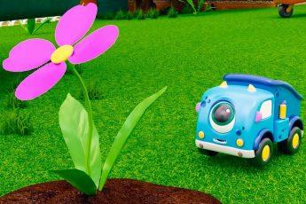 Машинки Мокас. Машинки сажают цветы